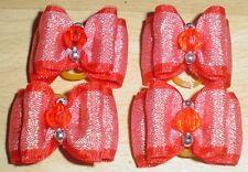 Pretty Red Sparkle mostra tipo Toelettatura Fiocchi Acrilico Centro Perla