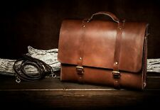 Personalised Handmade Real Genuine Top Grain Leather Mens Briefcase Laptop Bag