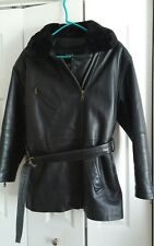 Wilsons Womens Black Leather Coat Faux Removeable collar & Thinsulate Liner Sz S