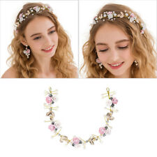 Women Wedding Bridal Pearl Decor Flower Hair Band Headband Headdress Handmade