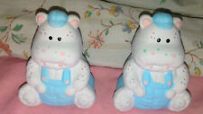 Vintage Collectible Country Hippo Salt & Pepper Shakers