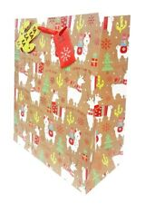 Large Christmas Gift Bag Present Wrapping Kraft Funny Cute Llama +Free Sellotape