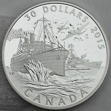 Canada 2015 $30 Canada's Merchant Navy Battle of the Atlantic 2 oz. Pure Silver