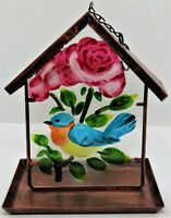 """Decorative bird feeder metal and glass .  Measures 9"""" high and 8 1/2"""" wide B106"""