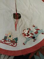 """Homemade Vintage Christmas Tree Skirt Quilted applications Cotton 44"""""""