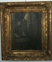 Nobildonna in maschera veneziana olio su tela XVIII-XIX sec. cornice compresa