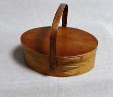 Antique Shaker 3 Finger Oval Sewing Box / Basket with Cover & Handle - Genuine