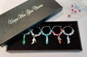 box of 6 wine glass charms 3D high heeled shoes birthday or dinner party gift