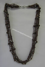 Multistrand Beaded Necklace with Seed Beads,Chips,Ornate Beads in Black or Brown