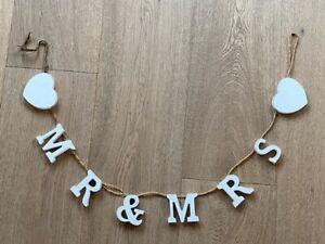 Mr & Mrs Bunting Garland Wedding Heart Wall Decoration Shabby Chic