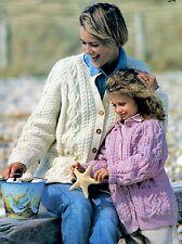 """Knitting Pattern - Ladies/Mens/Kids Aran Jacket/Cardigan (6 sizes-26""""-48"""") P0499"""