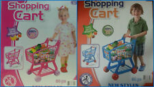 Kids Boys/Girls Children Shopping Trolley Supermarket Cart W/ Fruit & Veg Toy ES