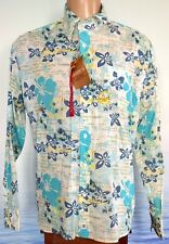 NWT EIGHT X Men's Turquoise Print Long Sleeve Button Up Shirt Floral White XL