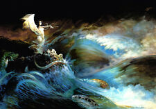 "FRANK FRAZETTA Fantasy Art Prints Canvas Textured Finish ""Sea Witch"" 3.3"
