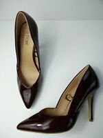 WOMENS FIORE UK 8 EU 42 BURGUNDY PATENT LEATHER SLIP ON HIGH HEEL COURT SHOES
