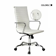 White High Back Office Chair PU Leather Rolling Caster Computer Desk Home