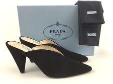 Prada Pointy Toe Black Suede Mule Slide Shoes 40/10