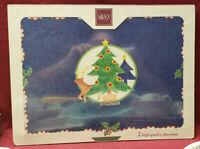 Set of Two (2) MIKASA China - CHRISTMAS GLOW Pattern - corkboard PLACEMATS