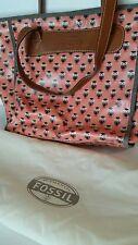 FOSSIL Keyper Shopper Tote Purse Shoulder Bag Owls Pink Brown With Cover Keeper