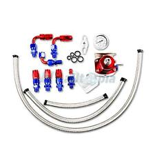 Universal Adjustable Fuel Pressure Regulator Kit+100PSI Gauge AN6 End Red&Blue