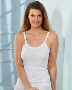 Size Medium Set of 2 Ribbed-Knit Camisoles 100% Combed American-Made Cotton NEW