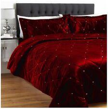 5PC Maroon King Crystal Quilted / Duvet / Comforter / Quilt Velvet Bedspread Set