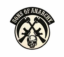 Sons Of Anarchy Skull Crossed Guns Biker Embroidered Iron On Applique Patch