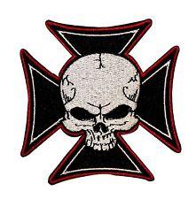 Maltese Iron Cross & Skull Biker On Embroidered Badge Applique Patch