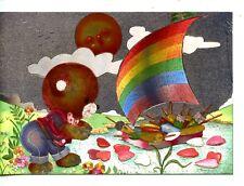Cute Dressed Teddy Bear-Popsicle Boat-Vintage Metallic Foil Novelty Postcard