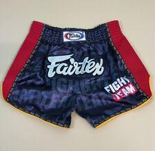 FAIRTEX  SHORTS MUAY THAI BOXING GENUINE MMA XS KIDS UNISEX BLACK SATIN SLIM CUT