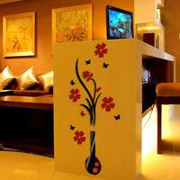 3D Vase Flower Tree Plastic Wall Sticker Home Room TV Decor Vinyl Decal Mural