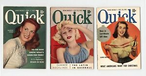 GROUP of 3 QUICK magazines - BEAUTIFUL COVERS - 1951 - 1952 - GREAT PICS!