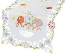 Easter Table Runner Spring Table Cloth Topper Eggs Embroidered White Tablerunner