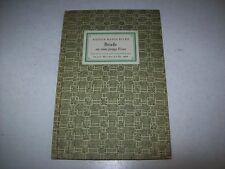 RAINER MARIA RILKE-BRIEFE AN EINE JUNGE FRAU-IM INSEL-VERLAG-1952-IN LINGUA ORIG