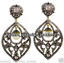 Pearl Studded Silver Earring Jewelery Victorian 5.20cts Rose Antique Cut Diamond