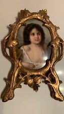 Antique Miniature Portrait ,Porcelain, Hand Painted Plaque , with Frame
