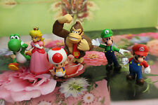 6 pc Set Super Mario Bros Yoshi Luigi Toad  Action Figures + Lovely Plastic Case