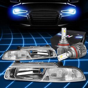 Fit 1995-2000 Chrysler Cirrus OE Style Headlights w/LED Kit Slim Style Chrome