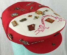 """Vintage """"Topaz Travel Club"""" Cabbie Hat w/ Pins Freightliner Dixie Marines Nevada"""