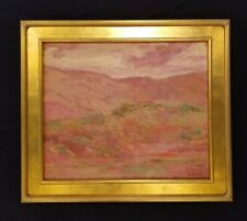 Antique Landscape Oil Painting Mountains at Sunset
