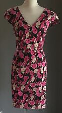 NWOT Glorious MISS SELFRIDGE Black & Floral Retro 50's Vibe Wiggle Dress Size 16