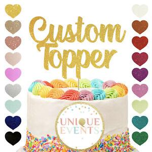 Custom Glitter Cake Topper Name Personalised Any Word Customised Gold