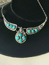 NAVAJO TURQUOISE SQUASH CHOKER PENDANT STERLING SILVER NECKLACE ARTICULATED