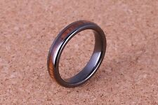 4mm width black ceramic ring with koa wood comfort fit