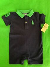 Polo Ralph Lauren Baby Boy 9M One Piece Romper With Bog Polo Logo NWT