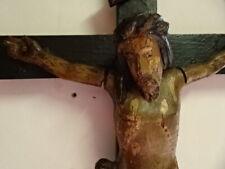 Grand crucifix en bois sculpté et patiné.XVIII°.Christ.