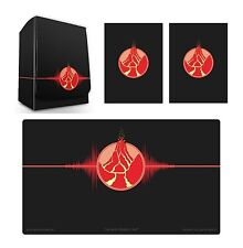 100 Double Matte Mat Sleeves Deck Protector Iconic Red Fire Deck Box Playmat MTG