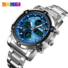 SKMEI Men Quartz Watch LED Digital Steel Wristwatch Casual Business Male Watches