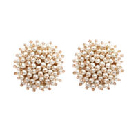 Earrings Nails Studs Big Silver Mini Pearl White Marriage XX35