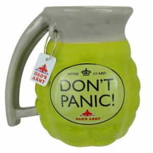 OFFICIAL DAD'S ARMY DON'T PANIC 3D GRENADE SHAPED COFFEE MUG CUP NEW WITH TAG